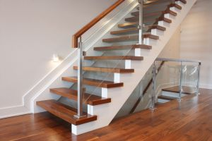 Walnut Glass Panel Staircase #158